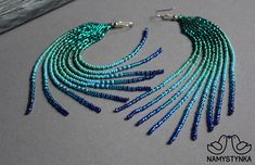 Seed Bead Earrings, Fringe Earrings, Beaded Earrings, Seed Beads, Turquoise Earrings, Turquoise Beads, Chandelier Earrings, Dangles, Long Fringes
