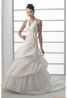 A-Linie V-neck Bodenlang Schönste Brautkleider für Prinzessin