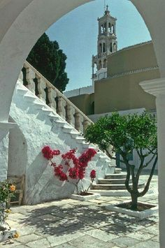 In the court yard of St Mary's Church in the port of Tinos.
