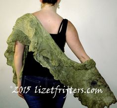 Moss Green Nuno Felted Shawl  Eco Dyed  Handmade by lizetfrijters
