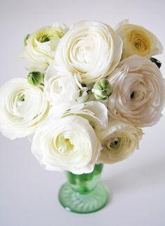 White Ranunculus. wedding centerpiece. vintage wedding.