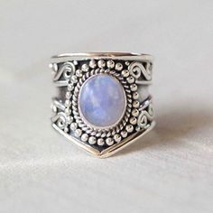 Boho Natural Moonstone Silver Statement Ring - donbiujewelry  - 1