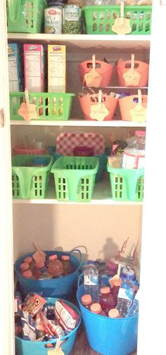 A Cheap DIY Kid Friendly Pantry using dollar store containers. #AHugeSale #CollectiveBias #Ad #Organization
