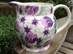 EMMA BRIDGEWATER Waitrose Purple Flower Garden . 1-1/2 pint JUG . spongeware