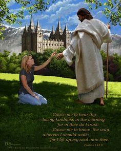 "The 'Lift Up My Soul"" project was created to allow every young person in The Church of Jesus Christ of Latter-day Saints to have a picture of themselvesFREE. kneeling before the Savior as depicted here, and it will be provided for the youth of your ward for free"