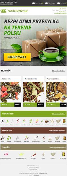 Skuś się na filiżankę smacznej herbaty - w darmowej dostawie / Projekt newslettera przygotowany dla KrainaHerbaty.pl / https://panel.sendingo.pl/kampania/5z8 / #newsletter #theme #email #freedelivery #promotion
