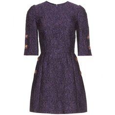 Dolce & Gabbana Brocade Dress ($1,555) ❤ liked on Polyvore featuring dresses, short dresses, vestidos, purple, brocade cocktail dress, purple cocktail dresses, mini dress and brocade dress