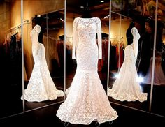 White Lace Mermaid-Sleeves-Low Open Back-High Neckline-Train-115XTR0325500395 at Rsvp Prom and Pageant, Atlanta, GA