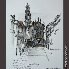 One of my favorite Urbansketches while I was in Porto Portugal. Late afternoon, standing in Liberdade Square. Perfect weather, loads of people and a busker playing trumpet beside me. The view up Rua dos Clerigos towards Igreja dos Clerigos. 25 minute, 7 x