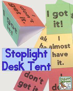 Stoplight desk tent to show student learning ---Crockett's Classroom