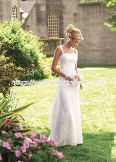 Modern Square Sheath/Column Garden Lace Wedding Dresses,elegant ,causal wedding dresses