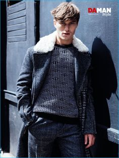 English model Oliver Cheshire wears a fall look from Salvatore Ferragamo for Da Man Style.