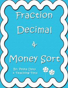 *FREE* Fraction Decimal and Money Sort