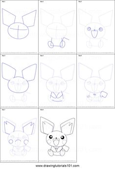How to Draw Pichu from Pokemon step by step printable drawing sheet to print. Learn How to Draw Pichu from Pokemon Easy Pokemon Drawings, Pikachu Drawing, Pokemon Sketch, Easy Drawings, Pichu Pokemon, Pokemon Go, How To Draw Pokemon, Pokemon Painting, Anime Lineart