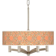 Giclee Glow Peach Bamboo Trellis Ava 6-Light Nickel Pendant Chandelier ($300) ❤ liked on Polyvore featuring home, lighting, ceiling lights, chandeliers, orange, nickel pendant light, nickel chandelier, 6 arm chandelier, orange pendant light and orange lighting