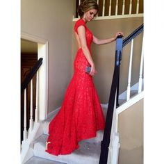 Sexy Mermaid Prom Dresses 2016 Red Full Lace V neck Backless Evening Dresses Party Gowns Turquoise Party Dresses Vestido De Festa