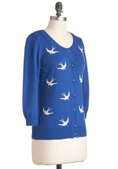 Birdlandia Cardigan in Blue. What could make a lovely royal-blue sweater even more delightful? #blue #modcloth