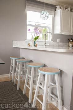 just repaint around edges of stools, leaving top natural wood and bottoms white. would go great with my newly painted table