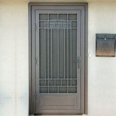 Penasco Security Screen Door - First Impression Ironworks Front Gate Design, Door Gate Design, Main Door Design, Iron Front Door, Iron Doors, Iron Gates, Exterior Doors, Entry Doors, Security Screen