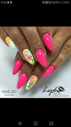 Almond Acrylic Nails, Summer Acrylic Nails, Gelish Nails, Nail Manicure, Bling Nails, Swag Nails, Summer Nails 2018, Flamingo Nails, Mobile Nails