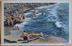 Dunkirk, New York .. Beach & Swimmers 1937 linen Curt Teich  postcard