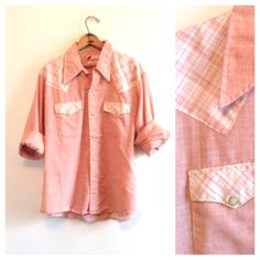 1970s men's coral and plaid shirt // western pearl by langvintage, $28.00