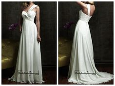 Beautiful Chiffon Empire One Shoulder Neckline Wedding Dress with Appliques,Beadings and Rhinestones