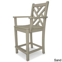 Polywood Chippendale Polyethylene Counter Arm Chair (Sand), Beige, Patio Furniture (Plastic)