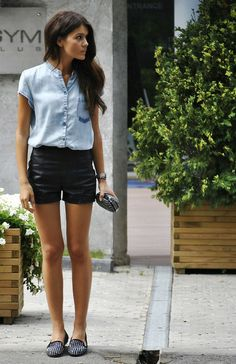 1812a69d5103 Leather shorts + chambray top. Denim Top