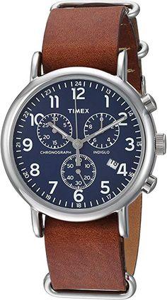 d14f80cf057f Amazon.com  Timex Unisex TWC063800 Weekender Chrono Cream Blue  Double-Layered Nylon Slip-Thru Strap Watch  Watches
