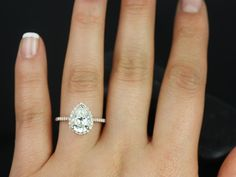 Rosados Box Tabitha 10x7mm Rose Gold Pear FB Moissanite and Diamonds Halo Engagement Ring