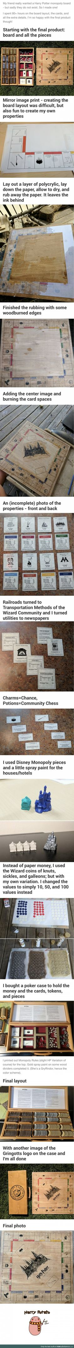 Monopoly Harry Potter board. The fact someone made this for a friend is awesome! There should be a Harry Potter monopoly board, I wonder why there isn't one?