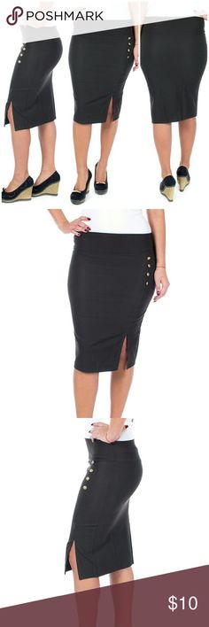 """Women Pencil Side Button Skirt, d-4024, Olive Knee length stretch Forever Young women professional pencil skirt with a classic side slit and button accents is perfect for office wear. Comfortable,  elastic, not lined pull-on. Can be worn on or below waist. Skirt length approx. 23.5"""". A true statement in ladies fashion! Waist: small 26"""", medium 28"""", large 30"""", XL 32"""", XXXL 36"""". Forever Young  Skirts"""