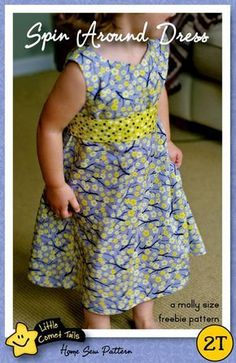 A Molly Size Freebie Dress Pattern. Sleeve add-on Sewing Kids Clothes, Sewing For Kids, Baby Sewing, Children Clothes, Doll Clothes, Sewing Patterns Free, Free Sewing, Clothing Patterns, Free Pattern