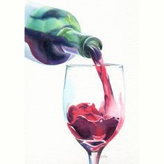 Red Wine Print still life from original watercolor by underthesunn, $23.00