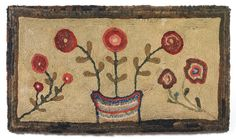 """19th c. chenille-shirred floral rug  Sold:  ($ 22,000)  New England c.1830-50  Wool on linen, 35"""" x 62 ¼""""  Provenance: Allan Daniel  Literature: Kopp, American Hooked and Sewn Rugs Folk Art Underfoot, 1985, pg 29, fig. 26"""