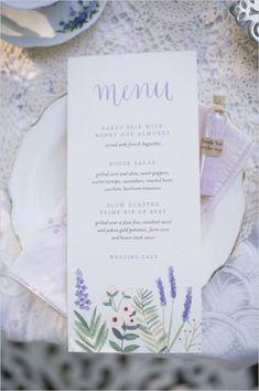 Lavender Tea Party Wedding Ideas - The Wedding Chicks Tea Party Wedding, Wedding Menu Cards, Mod Wedding, Wedding Stationary, Wedding Paper, Wedding Invitations, Wedding Foods, Wedding Vintage, Spring Wedding