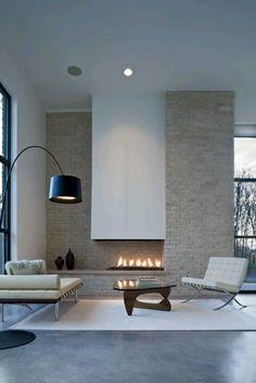 Brick Fireplace in Urban Reserve, Dallas, USA -  design Charles Davis Smith AIA