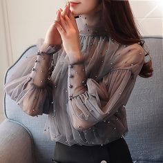 Plus Size Women Top Lantern Sleeve Blouse Beading Elegant Blouse Chiffon Pearl Shirt Super Fast Delivery: 5 to 8 days Delivery to USA, UK, CA, & AU. Organza, Beaded Chiffon, Spring Blouses, Long Blouse, Aliexpress, High Collar, Blouses For Women, Cheap Blouses, Long Sleeve Shirts