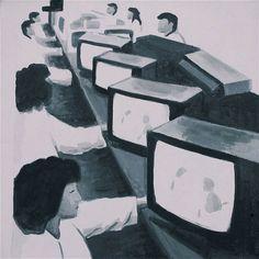 The Krasnals: Tanie Sasnale z Chin / Fabryka; 2008, canvas print, acrylic, 50 x 50 cm