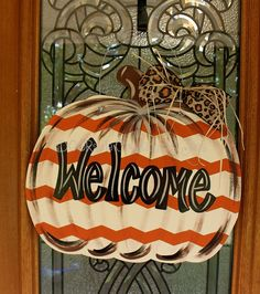 Pumpkin, fall pumpkin door hanger, thanksgiving, halloween, happy fall y'all by DoorCreationsbyJess on Etsy