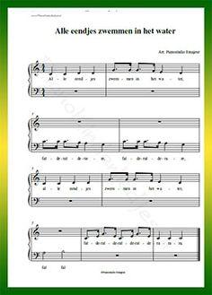 Alle eendjes zwemmen in het water - Gratis bladmuziek van kinderliedjes in eenvoudige zetting voor piano. Piano leren spelen met bekende liedjes.