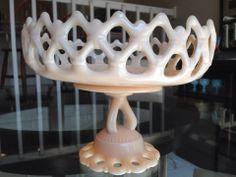 Vintage Milk Glass Footed Cake Plate Pedestal Lattice Pierced Westmoreland Doric