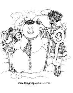 Kinderen met een sneeuwpop