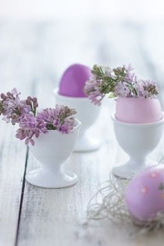 Lilac sprigs with Lavender Eggs