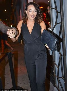 Tny waist: The beauty, looked elegant in the black jumpsuit, which clinched in the middle, showing off her tiny waist and trim figure Stephanie Davis, Hollyoaks, Tiny Waist, Black Jumpsuit, Boyfriend, Medical, Celebs, Actresses, Elegant