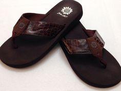 285f67c5e Yellow Box Flip Flops Thongs Sandals Brown Reptile Print Sz 7