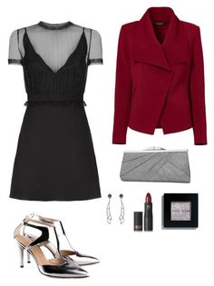"""""""Red and Black Class."""" by impavidgirl ❤ liked on Polyvore featuring Formentini, Valentino, Greylin, Jessica McClintock, Lipstick Queen and Bobbi Brown Cosmetics"""
