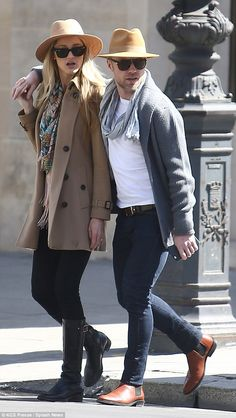Newly engaged Ronan Keating and Storm Uechtritz wear matching hats #dailymail