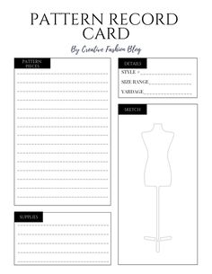 Use these free pattern record cards to organize your handmade sewing patterns the quick and easy way. Sewing Room Design, My Sewing Room, Sewing Class, Sewing Studio, Card Patterns, Sewing Patterns, Shirt Patterns, Clothes Patterns, Dress Patterns
